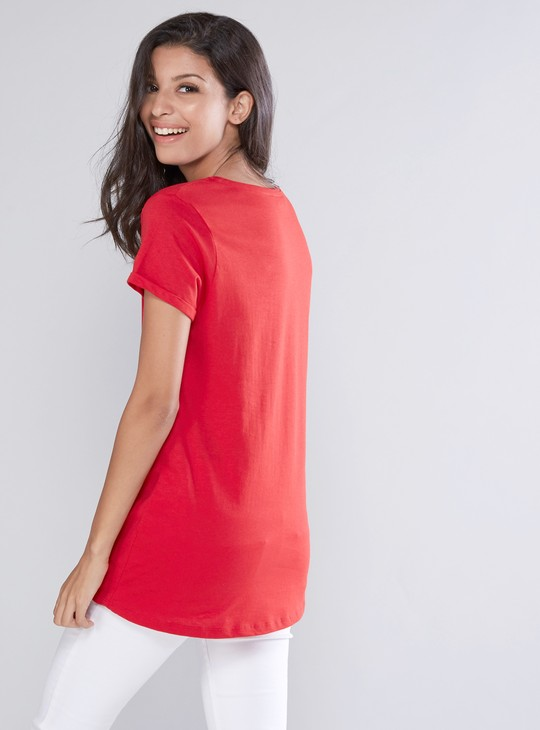 Printed Top with Round Neck and Pearl Detail
