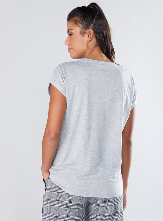 Embellished T-Shirt with Sequin Detail and Cap Sleeves