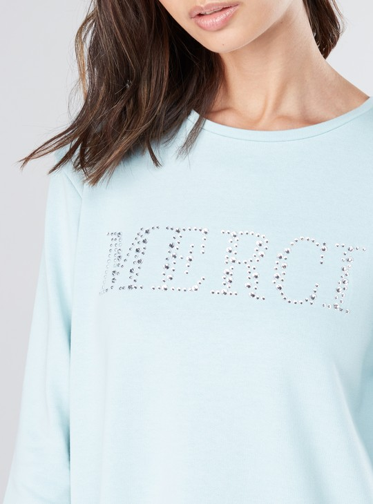Embellished T-Shirt with Round Neck and 3/4 Sleeves
