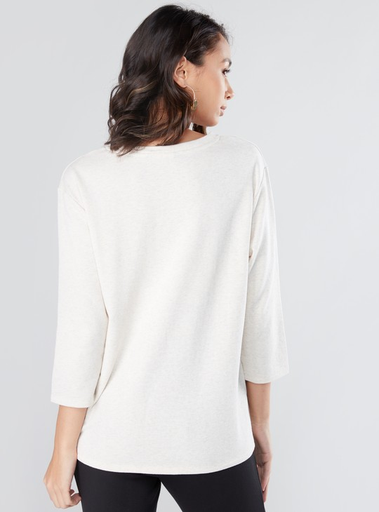 Embellished and Printed Top with Round Neck