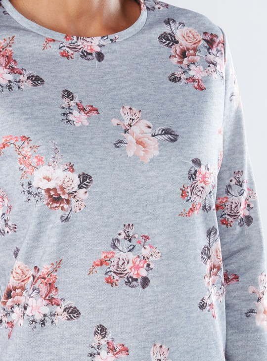 Printed Sweat Top with Long Sleeves and Round Neck