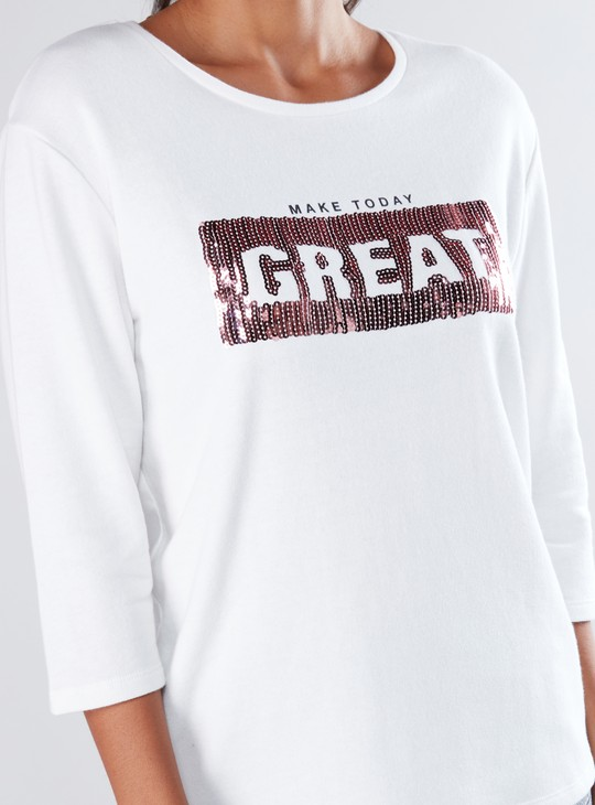 T-shirt with Sequin Detail and 3/4 Sleeves