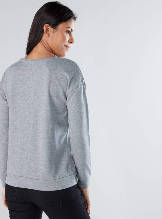 Printed Top with Long Sleeves and Embroidery