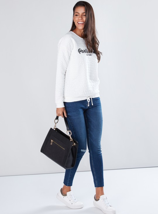 Textured Sweatshirt with Long Sleeves and Tie Up Detail