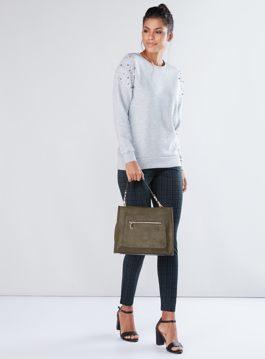 Round Neck Sweatshirt with Long Sleeves and Pearl Detail