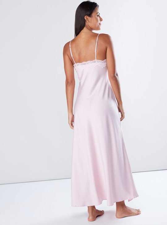 Maxi Sleep Dress with Lace Detail and Spaghetti Straps