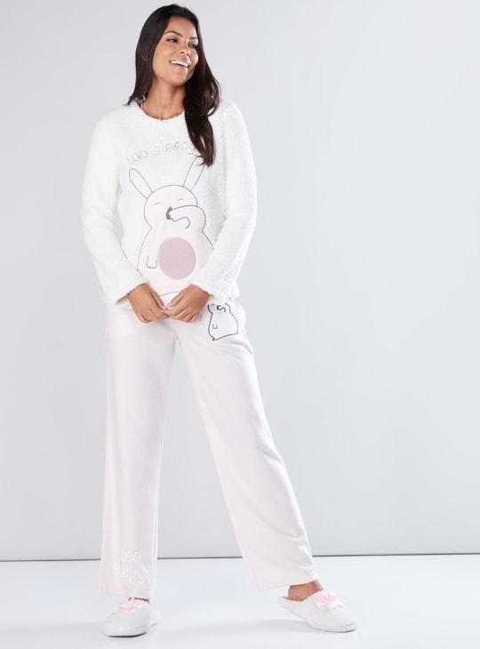 Embroidered Plush Long Sleeves T-Shirt and Pyjama Set
