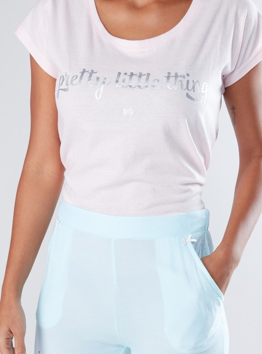 Printed Cap Sleeves T-Shirt and Pyjama Set