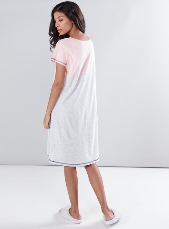 Printed Round Neck Short Sleeves Sleep Dress