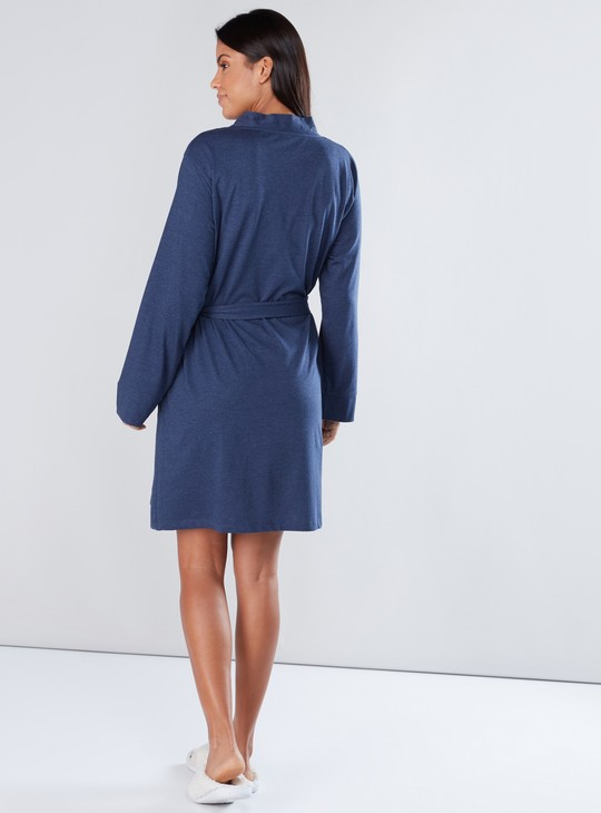 Long Sleeves Midi Robe with Tie Ups