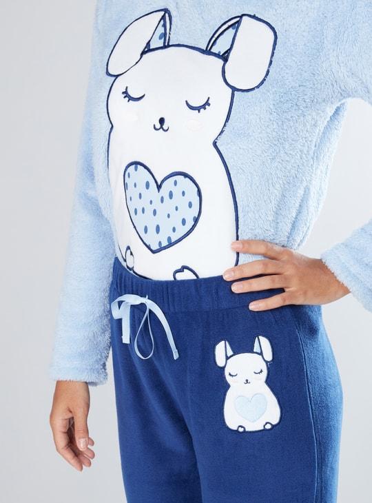 Plush Long Sleeves T-Shirt and Pyjama Set
