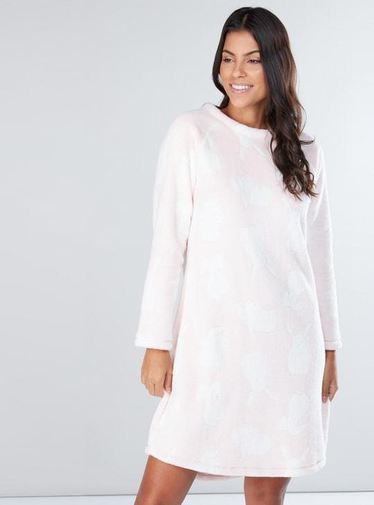 Plush Sleep Dress with Round Neck and Raglan Sleeves