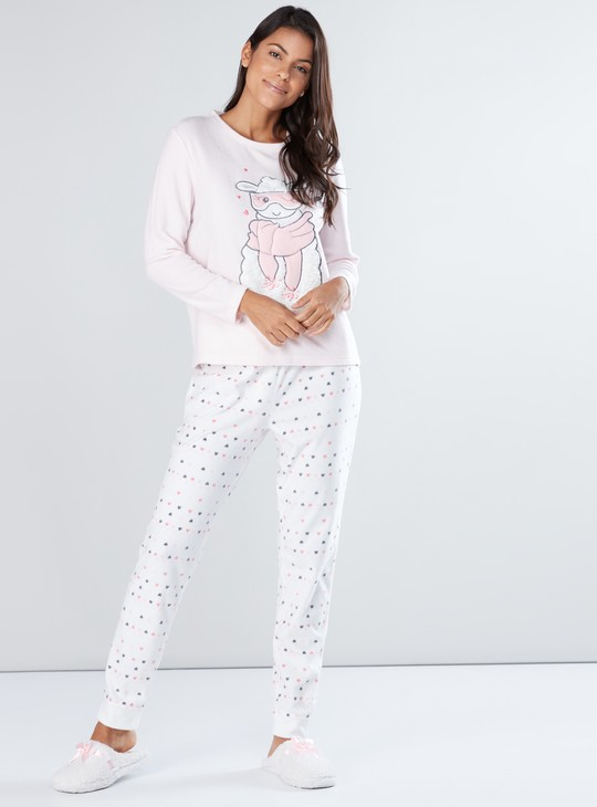Long Sleeves Applique Detail T-Shirt with Printed Jog Pants