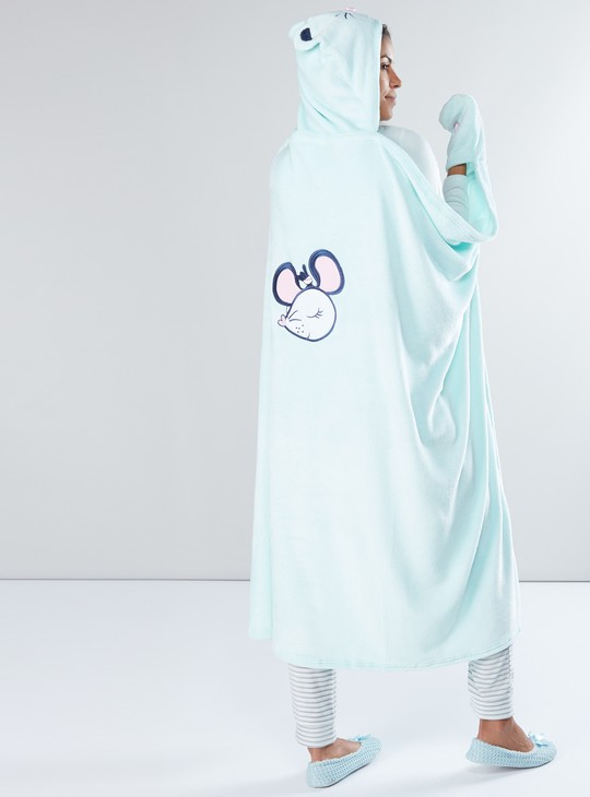 Plush Robe with Long Sleeves and Hood