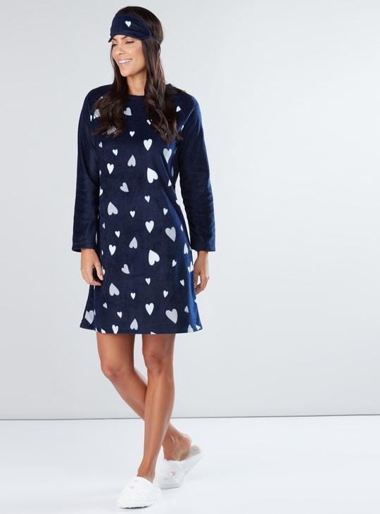 Plush Sleep Dress with Round Neck and Raglan Sleeves - Set of 2