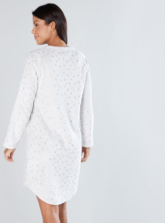 Printed Sleep Dress with Round Neck and Raglan Sleeves