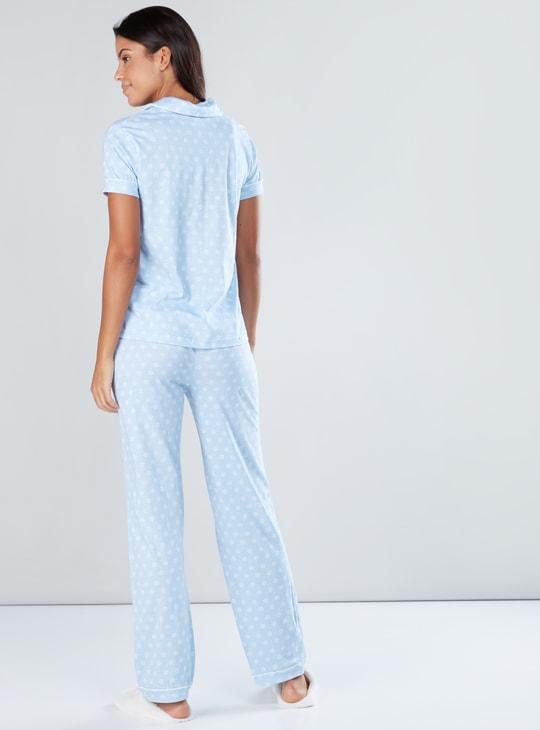 Polka Dot Printed 3-Piece Pyjama Set