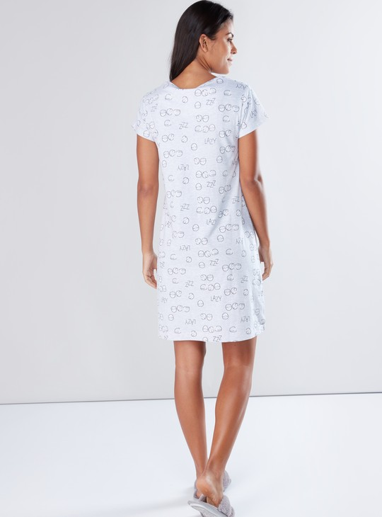 Printed Sleep Dress with Round Neck and Short Sleeves - Set of 2