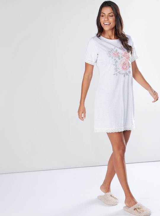 Printed Mini Sleep Dress with Round Neck and Short Sleeves