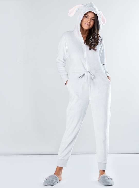 Plush Jumpsuit with Long Sleeves and Hood