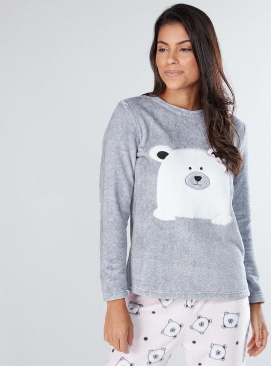 Plush Long Sleeves T-Shirt and Printed Pyjama Set