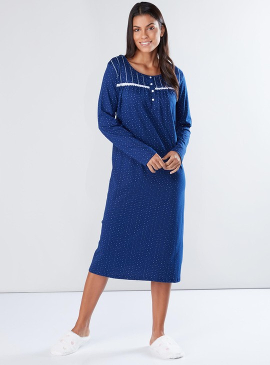 Printed Sleep Dress with Long Sleeves and Lace Detail