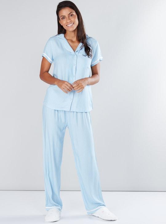Striped Short Sleeves Shirt and Pyjama Set