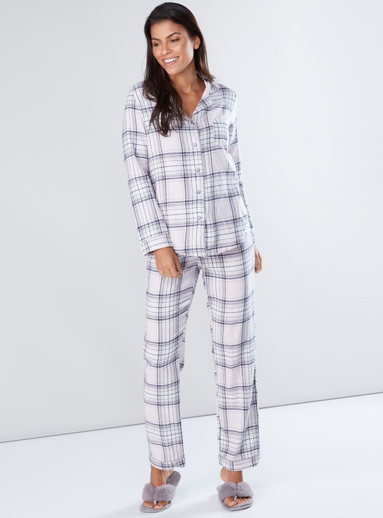 Chequered Long Sleeves Shirt and Pyjama Set