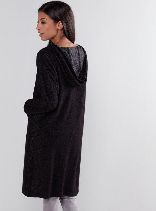 Open Front Shrug with Long Sleeves and Hood