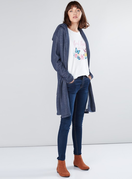 Textured Long Sleeves Open Front Shrug with Hood and Pocket Detail