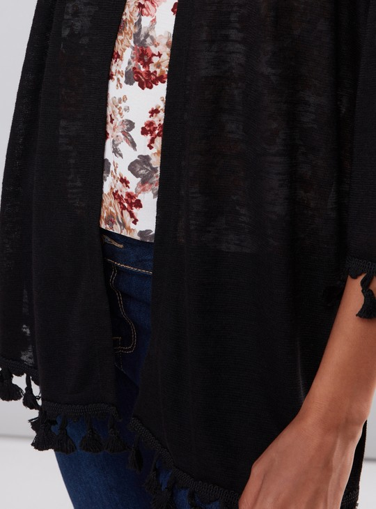 Open Front Shrug with Tassels