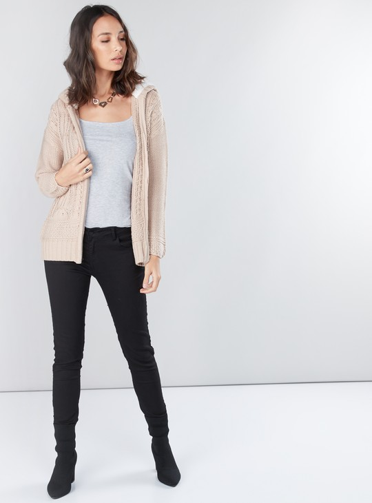 Textured Cardigan with Long Sleeves and Zip Closure