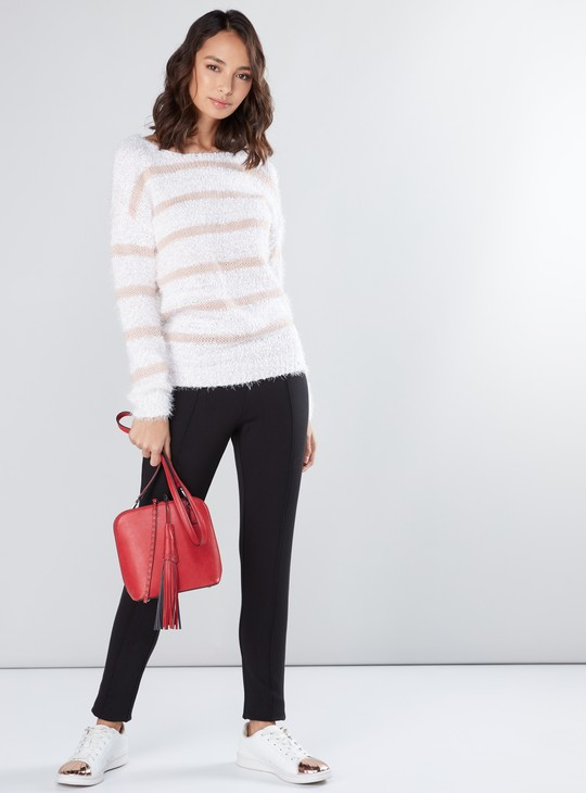 Textured Sweater with Boat Neck and Long Sleeves