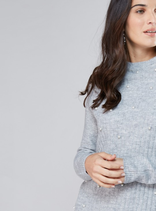 Textured Sweater with Raglan Sleeves and Pearl Detail