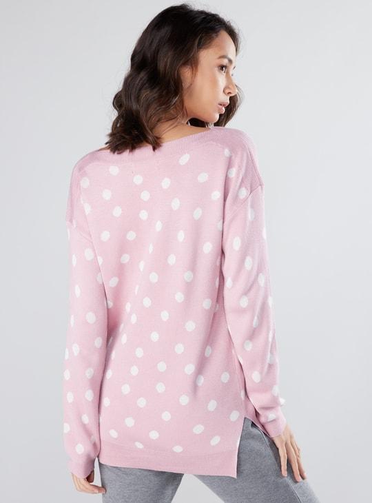Polka Dot Printed Sweater with Drop Shoulder Sleeves