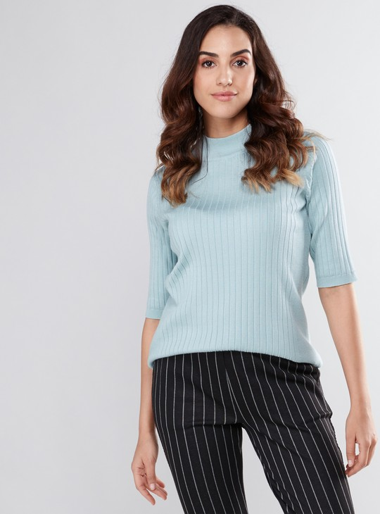 Textured Sweater with High Neck and 3/4 Sleeves