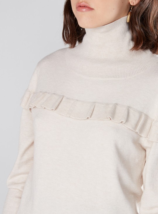 High Neck Sweater with Long Sleeves and Ruffle Detail