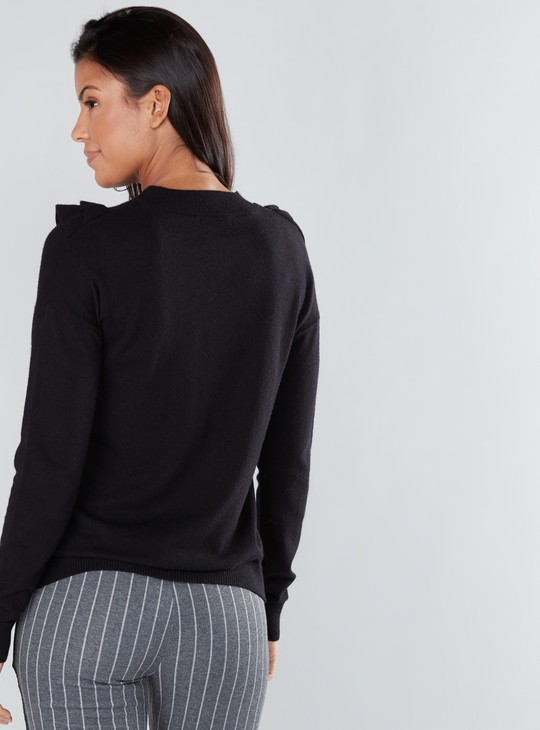 Textured Round Neck Sweaterwith Ruffle Detail and Long Sleeves