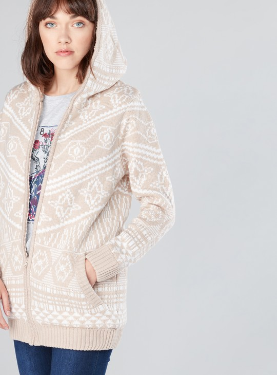 Textured Long Sleeves Cardigan with Zip Closure