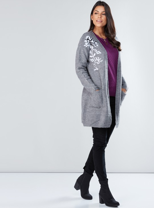 Printed Cardigan with Long Sleeves and Pocket Detail
