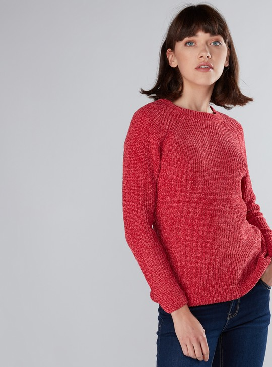 Textured Sweater with Raglan Sleeves