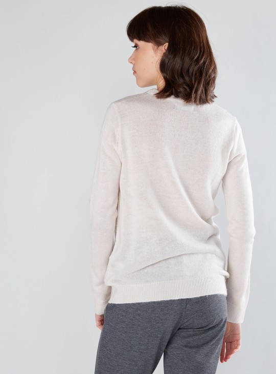 Textured and Printed Sweater with Round Neck and Long Sleeves