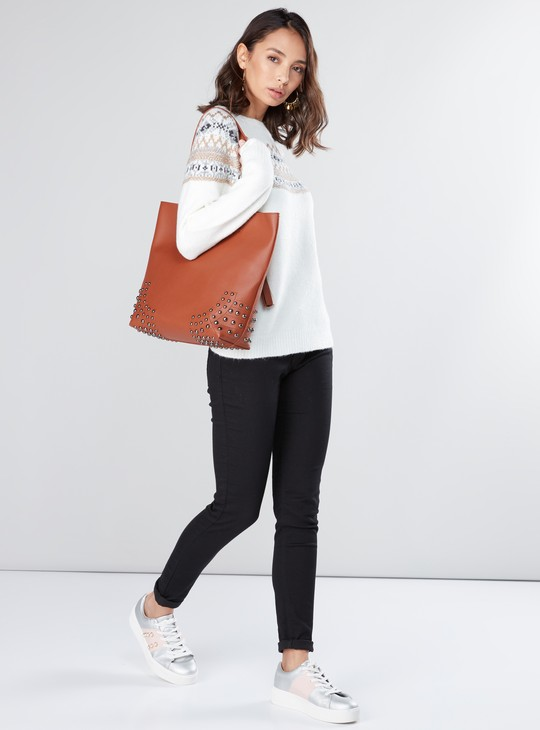 Textured Sweater with Boat Neck and Raglan Sleeves