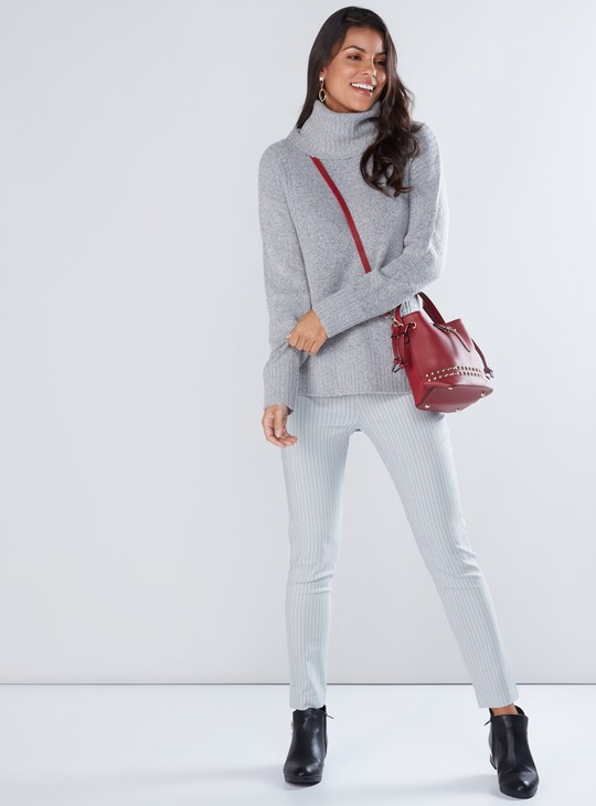 Textured Asymmetric Sweater with Turtleneck and Long Sleeves
