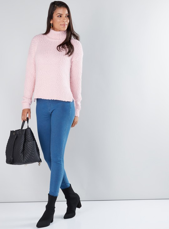 Textured Sweater with Turtleneck and Long Sleeves