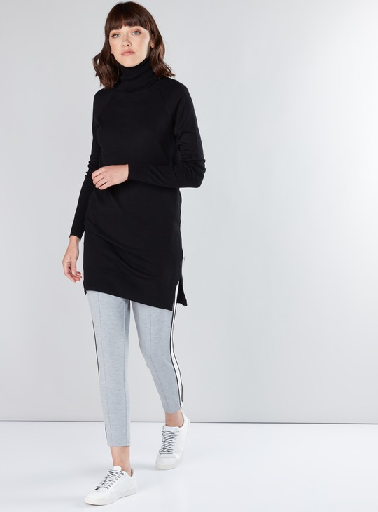 Textured High Neck Longline Sweater with Raglan Sleeves