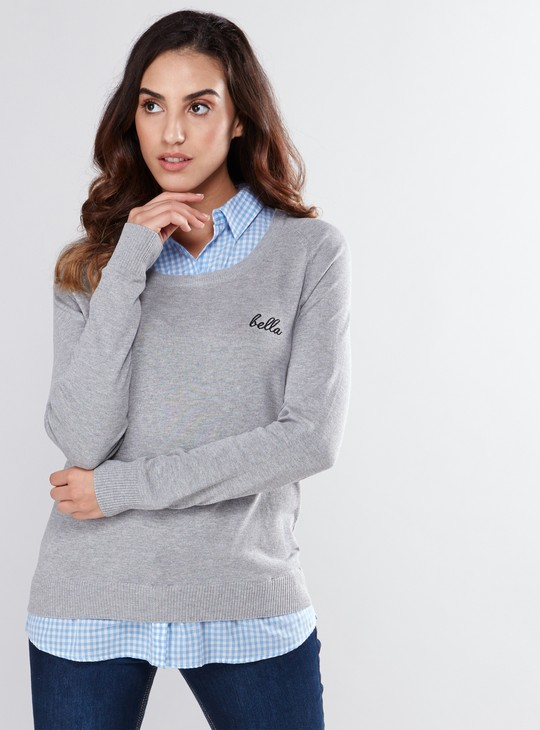 Mock Collar Sweater with Long Sleeves