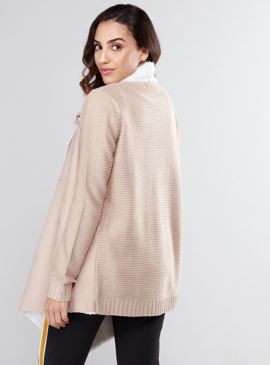 Textured Waterfall Cardigan with Long Sleeves and Plush Detail