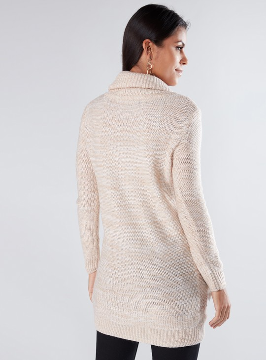 Textured Sweater with Long Sleeves and Plush Pockets