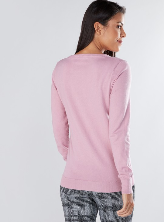 Textured Sweater with V-Neck and Long Sleeves